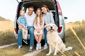 Happy Young Family With Retriever Dog Sitting In Car Trunk And Looking At Camera In Field poster
