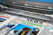 3d Render Illustration Of Printing Color Daily Business Newspapers Or News Papers On The Offset Prin poster