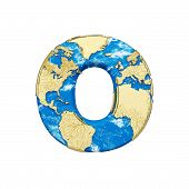 World Earth Globe Alphabet Letter O Uppercase. Global Worldwide Font With Nasa Map. 3d Render Isolat poster