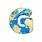 World Earth Globe Alphabet Letter G Uppercase. Global Worldwide Font With Nasa Map. 3d Render Isolat poster