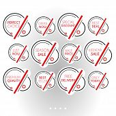 Set Of Minimalist Graphic Sale Stickers. Circles And Lines In Black And Red On White Background. Ele poster