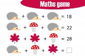 Maths Game With Pictures (autumn Theme) For Children, Middle Level, Education Game For Kids, Prescho poster