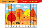 Math Puzzle, Autumn Forest In Cartoon Style, Education Game For Development Of Preschool Children, U poster