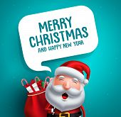 Santa Claus Vector Character With Merry Christmas Greeting Text In White Speech Bubble In Blue Backg poster