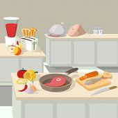 Food Cooking Lunch Concept. Cartoon Illustration Of Food Cooking Lunch Concept For Web poster