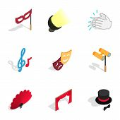Theater Performance Icons Set. Isometric 3d Illustration Of 9 Theater Performance Icons For Web poster