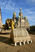 Church of Spilled Blood St. Petersburg Russia and excavater