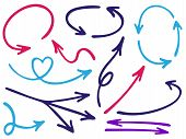 Hand Drawn Diagram Arrow Icons Vector Set. Up Down Pen Sketch Arrows, Right And Left Direction Point poster