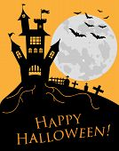 Happy Halloween. A Halloween Cat In A Witch Hat Flies On A Broomstick Against The Full Moon At Night poster