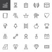 Motivation Outline Icons Set. Linear Style Symbols Collection, Line Signs Pack. Vector Graphics. Set poster