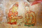 Cave painting at Sigirya  Temple, Sri Lanka. V century AD