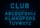 Light Neon Font Alphabet Vector.bright Blue Lamp Electric Illuminated Decoration, Retro Vintage Adve poster