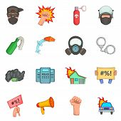 Protest Items Icons Set. Cartoon Illustration Of 16 Protest Items Icons For Web poster