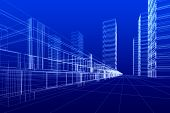 picture of commercial building  - 3D rendering wireframe of office buildings blue background - JPG