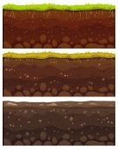 Seamless Soil Layers. Layered Dirt Clay, Ground Layer With Stones And Grass On Dirts Cliff Texture V poster