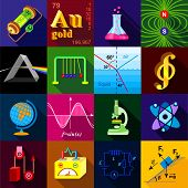 Science Research Icons Set. Flat Illustration Of 16 Science Research Icons For Web poster