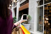 Woman Using Smart Phone For Shopping Online In Shopping Mall. poster