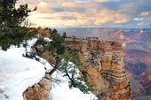 pic of grand canyon  - Grand Canyon panorama view in winter with snow and clear blue sky - JPG