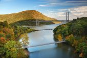 Hudson River valley in Autumn with colorful mountain and Bridge over Hudson River.