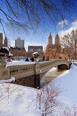 Panorama de la ciudad de Nueva York Manhattan Central Park en invierno con hielo y nieve sobre el lago con puente, sk