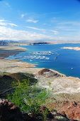 stock photo of grand canyon  - Lake mead panorama on Colorado River - JPG