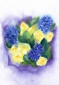 Romantic Bouquet Of Flowers. Yellow Roses And Blue Hyacinth. Watercolor Floral Illustration.wet On W poster