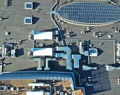 Aerial View Of Rooftop With All Installations, Electrical, Ventilation And Cooling poster