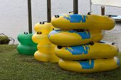 Stacks of inflatable rings for fun