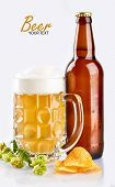Mug And Bottle Of Beer With Green Hops, Wheat Ears And Grains On White Background. Unfiltered Beer. poster