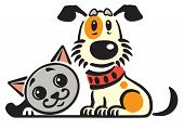 Cartoon Puppy Dog And Cat .vector Logo, Icon , Emblem poster