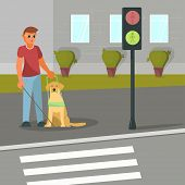 Vector Illustration Of Blind Man With Guide Dog poster