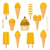 Vector Illustration For Natural Melon Ice Cream On Stick, In Paper Bowls, Wafer Cones. Ice Cream Con poster