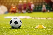 Football Soccer Training Equpment On Practice Session. Soccer Equipment On Soccer Pitch. Coach And Y poster