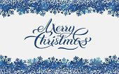 Merry Christmas Blue Background With Hand Drawn Brush Calligraphy Greeting Text, With Border Of Snow poster