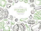 Vegetables Hand Drawn Background. Organic Food Vegetable Set. Sketch Vegan Vector Menu Design. Illus poster