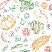 Sketch Vegetables Seamless Pattern. Vegetable Soup Organic Farm Food Vector Vegetal Background. Illu poster
