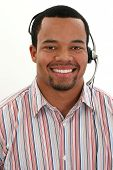Attractive twenties African American man customer service rep.