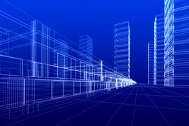 stock photo of commercial building  - 3D rendering wireframe of office buildings blue background - JPG