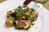 picture of swabian  - Plate with egg fried swabian pockets and parsley - JPG