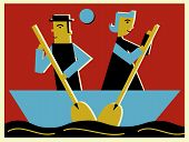 Two People Rowing A Boat In Opposite Direction