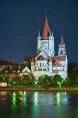 Church And Danube River In Vienna
