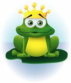 stock photo of nursery rhyme  - a frog sitting on a lily pad with a crown on his head - JPG