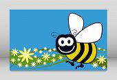 Bee and flowers vector