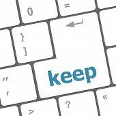Wording Keep On Computer Keyboard