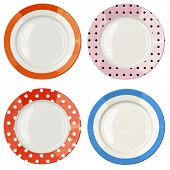 Set of color plates with polka dot pattern isolated on white