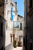 Peschici Street In Apulia Italy