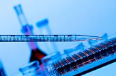 stock photo of electrophoresis  - Pipette workplace genome sequencing - JPG
