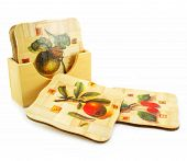 Set Of Wooden Trivets Isolated