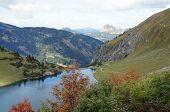 A small dam lake in the Allgaeu Alps
