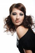 pic of brunette hair  - Fashion model with brown curly hairs posing  - JPG